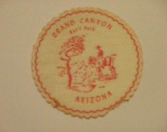 Vintage Grand canyon national Park, Arizona drink coaster. Used, backing coming off.