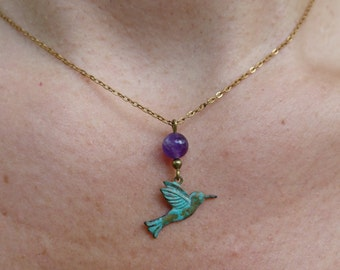 Green Bird of grey and Amethyst