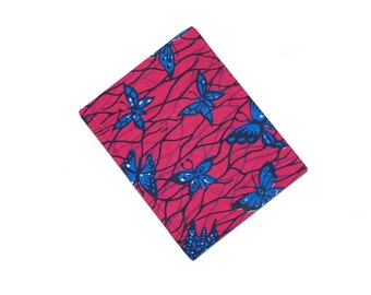 Pink and blue butterfly ankara bound ruled note book