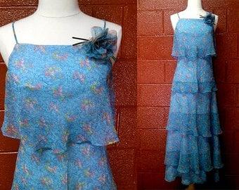 1970s Vintage MAXI DRESS-  Blue Floral Print Chiffon Ruffles- Prom/Festival/Wedding- size Small