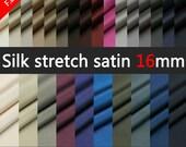 "3Yards Silk Fabric-Silk Stretch Satin Fabric 16MM Width42"" 48 Colors Dress,Wedding Dress,Lingerie"