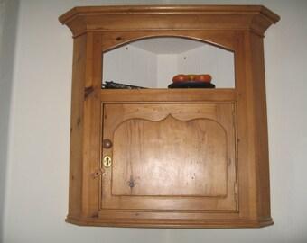 Reclaimed pine wooden corner cabinet