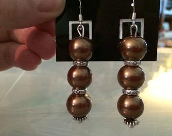 Czech Glass and Tibetan Silver Dangle Earrings