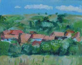 "Original oil painting on canvas  ""Houses"" 9""x11"" canvas"