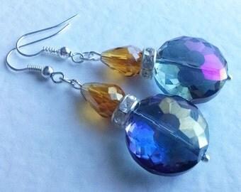 Purple Crystal Earrings , Silver Earrings , Purple Earrings , Purple Amber Crystal , Diamante Earrings , Dangly Earrings , Handmade Jewelry