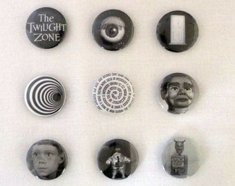 """The Twilight Zone- Set of 9 Pinback Buttons- 1"""""""