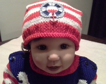 Hand Knitted and Hand Decorated Cotton Childs Bandana Hat with Marine Decor.