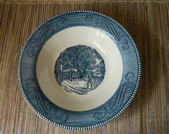 Currier & Ives Serving Bowl, Home Sweet Home Pattern