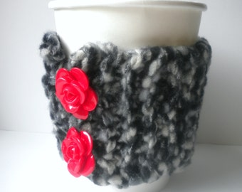 Coffee Cup Cozy: Black and White Cuddle Fleece with Red Rose Buttons