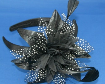 Black Headband Aliceband with Spotted Flower Detail