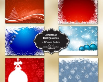 INSTANT DOWNLOAD - Collection of digital Christmas background designs with 6 different designs
