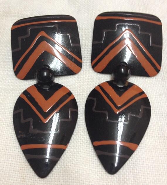 Vintage 1980's Pierced Tribal Print Earrings