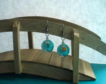 Silver Greek Coin withGreen and Yellow Stone Accent Earrings
