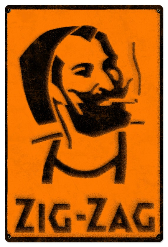 Zig Zag Man Rolling Papers Spray Art Metal Sign By