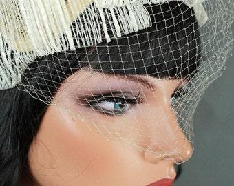 Vintage 1950s 1960s Hat Birdcage Veil Wedding Bridal Fascinator Ivory Off White One Size 172