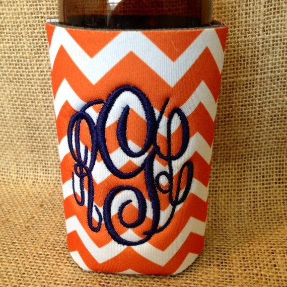 Monogrammed Can Sleeve, Personalized Beer Hugger, Monogrammed Gifts, Beer Gifts, Tailgate Party Favors, Orange Chevron, Orange and Navy Blue