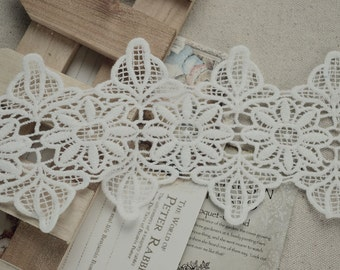 White Floral Lace Cotton Trim Embroidery Hollow Out Lace Trim 3.74 Inches Wide 2 Yards K037