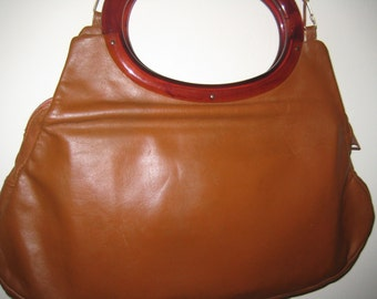 Vintage Leather Hobo Bag with Lucite Handles by Stouffer