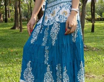 Gypsy Skirt - Long Elasticated Waist - Blue Batik