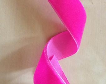 SALE! Fushia Hot Pink Velvet Ribbon - 23mm wide x 5 metres