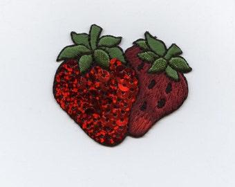 Sequin Double Strawberry Iron on Applique  1111292