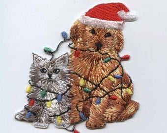 Christmas Puppy and Kitten Iron on Applique 694282B