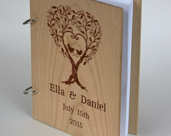 Custom Unique Wedding Anniversary Bridal shower guest book, Personalized gift for couple, Wedding Memory album, Laser engraved Cherry Wood