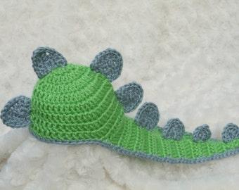 Crochet newborn dinosaur hat photography prop