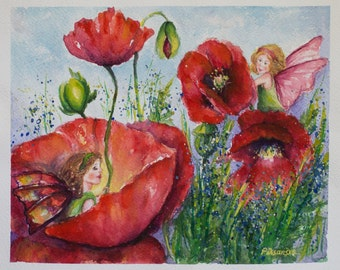 Flower Fairies, Art birthday gift, Poppies painted, Original Watercolor, Fairy Illustration, kids room art, Nursery Decor, Girls room decor
