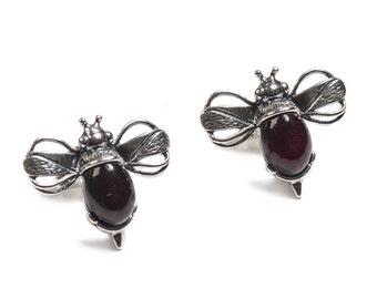 Henryka Cherry Amber & Silver Bumble Bee Earrings