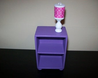 1:6 scale bookcase/ 1 6 scale shelves/ 1 6 scale side table/ 1 6 scale table/purple shelves/ doll shelf/ doll storage/ playscale bookcase