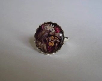 Ring cabochon adjustable glass 20mm tropical