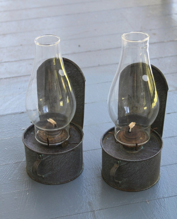 2 Antique Tin oil Keronsene hanging Wall Lamps with Clear