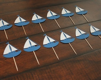 Blue and White Sailboat Cupcake Toppers