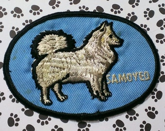 """Vintage 1960's """"Samoyed'' Dog Breed  Nicely Embroidered Sew-On  Patch 4 1/4 '' X 3''"""