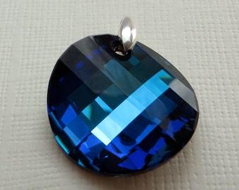 Swarovski Crystal Pendant, Blue, Sterling Silver Bail
