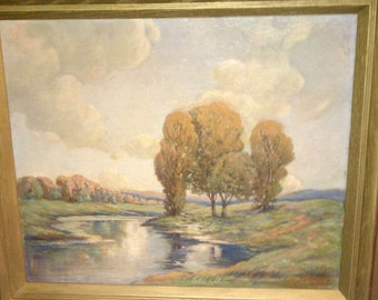 Impressionist Oil on Board Artist Signed Jacques Mid Century Wall Art Scenic River Tree s Landscape