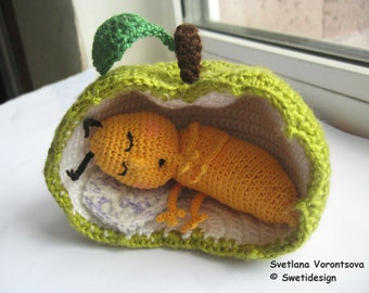 Sleeping apple worm crocheted made to order