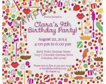 Sweet Candy Birthday Party Invitation Custom Personalized