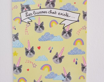 "Postcard ""Cat unicorns exist"""