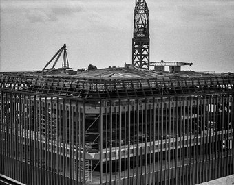 Vintage Black and White Photography Fine Art Print, World Trade Center South Tower Under Construction From The Top