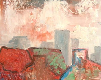 European oil painting expressionist cityscape 1960's