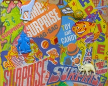 Retro Surprise Bags Mixed Media Collage On Canvas Board Original Vintage Prizes