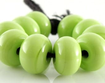 212 Opaque Lime Green Made to Order SRA Lampwork Handmade Artisan Glass Spacer Beads Set of 10 5x9mm