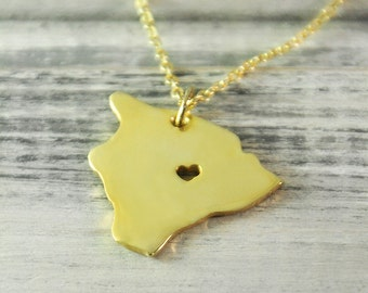 I  heart  Hawaii  Necklace Hawaii  pendant  18K gold plated state necklace state pendant map pendant  hammered state necklace map jewelry