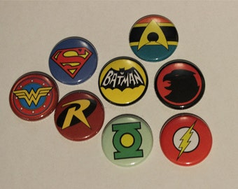 "1"" Justice League Pinback Badges (set of 8)"