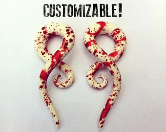 "Blood Spatter Earrings For Stretched Lobes - Fake, 2g, 0g, 00g, 7/16"", 1/2"", 9/16"", 5/8"", 11/16"",  3/4"" - Zombie Gauges - Gauged"