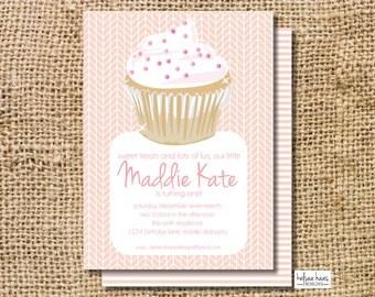 Cupcake Birthday Invitation Digital Printable, DIY, 1st Birthday, Girl, Light Pink