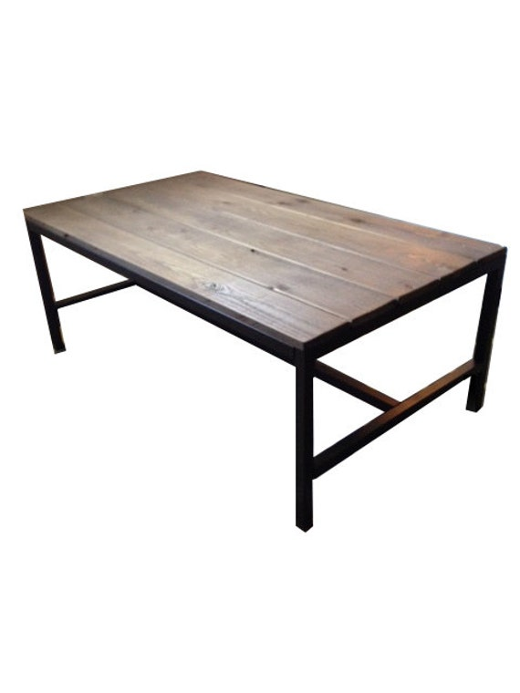 Handcrafted Coffee Table With Rustic Wood Top And Metal Frame
