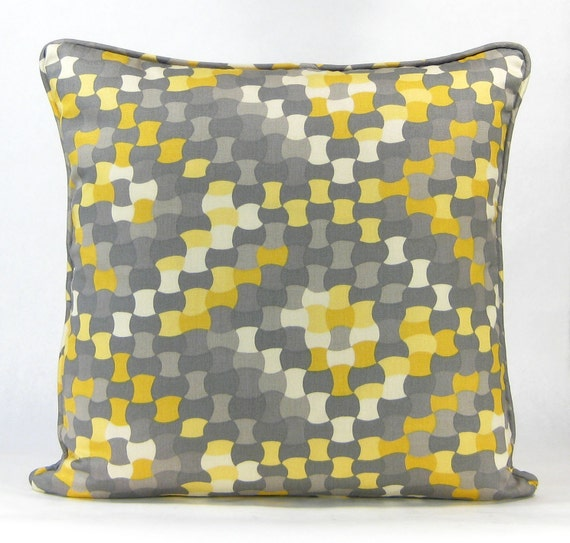 items similar to yellow and gray throw pillow